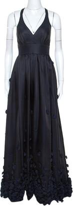 Temperley London Black & Navy Blue Satin Floral Applique Detail Gown S