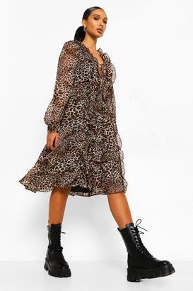 boohoo Leopard Ruffle Front Lace Up Midi Dress
