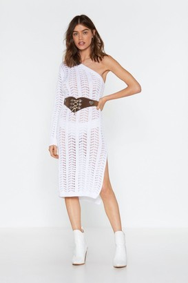 Nasty Gal Womens Weave Your Way In Knitted One Shoulder Dress - White - L, White
