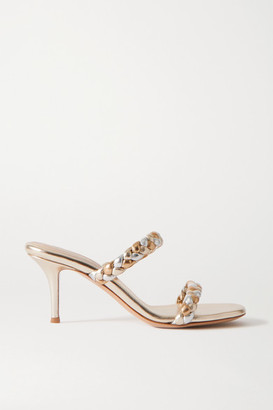 Gianvito Rossi 70 Braided Metallic Leather Sandals - Gold