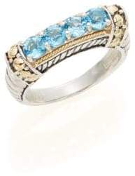 Effy 925 Blue Topaz, Sterling Silver & 18K Yellow Gold Ring