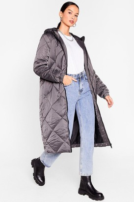 Nasty Gal Womens Our Quilt-y Pleasure Longline Padded Coat - Grey - 14