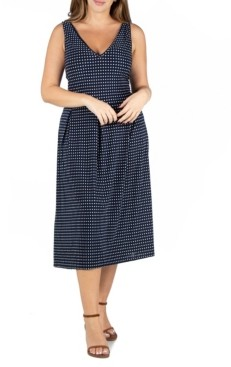 24seven Comfort Apparel Women's Plus Size Polka Dot Midi Fit and Flare Pocket Dress