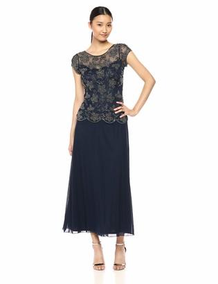 Pisarro Nights Women's Long Mock Two-Piece Dress with Pearl Details