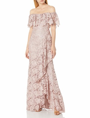 Badgley Mischka Women's Off The Shoulder Gown Floral lace Ruffle