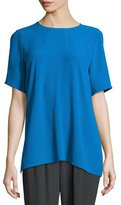 Eileen Fisher Short-Sleeve Silk Box Top
