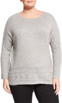 Neiman Marcus Cashmere High-Low Tunic, Heather Gray, Plus Size