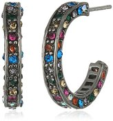 """Betsey Johnson Confetti"""" Pave Mixed Multi-Colored Stone Hoop Earrings"""