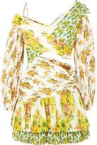 Zimmermann Golden Surfer Printed Plissé-voile Mini Dress - Green