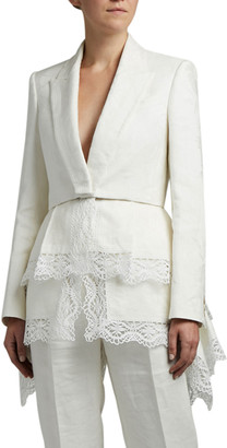Alexander McQueen Floral Jacquard Jacket with Lace Trim