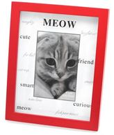 Bed Bath & Beyond Red Wood Matte Shadowbox MEOW 4-Inch x 6-Inch Frame