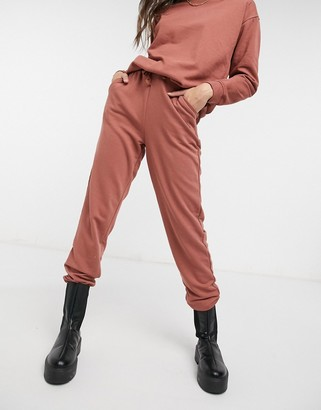 Pieces high waisted sweatpants co ord in rust
