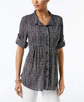 Style&Co. Style & Co Petite Plaid Empire Tunic Shirt, Created for Macy's