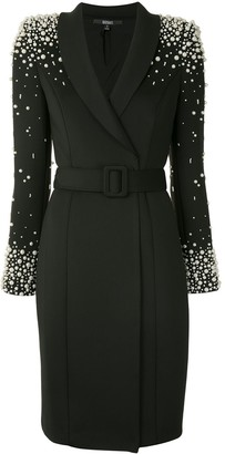 Badgley Mischka Pearl Embellished Blazer Dress
