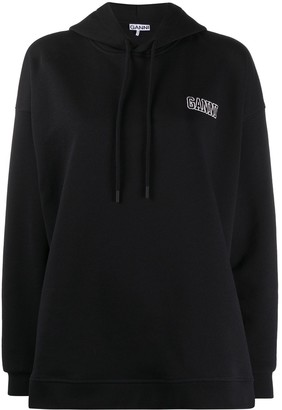Ganni Logo-Embroidered Oversize Hoodie