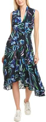 Nicole Miller Blue Mirage Silk-Blend Wrap Dress