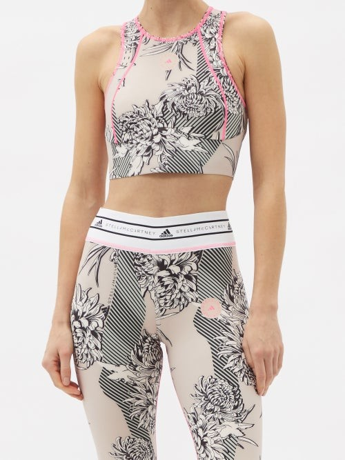 Thumbnail for your product : adidas by Stella McCartney Truepurpose Recycled Fibre-blend Cropped Top - Pink Multi