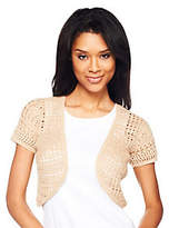 As Is Liz Claiborne New York Hand Crochet Short Sleeve Shrug
