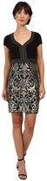 Adrianna Papell Matte Jersey Bodice with Lace Metallic Skirt