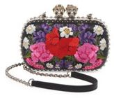Alexander McQueen Queen & King Skull Floral Leather Convertible Clutch