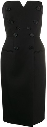 Givenchy Strapless Buttoned Midi Dress
