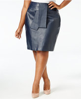 Melissa McCarthy Trendy Plus Size Faux-Leather Skirt