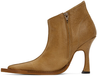 Charlotte Knowles Tan Embossed Serpent Heeled Boots