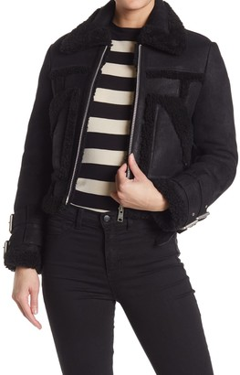 AllSaints Asher Leather Genuine Shearling Lined Jacket