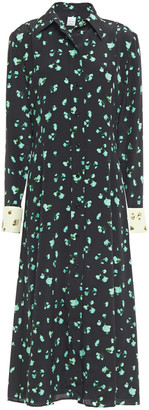 Paul Smith Floral-print Silk Crepe De Chine Midi Shirt Dress