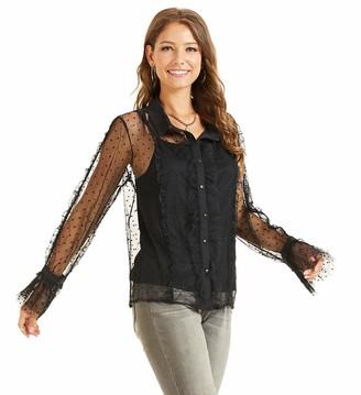 SONJA BETRO Women's Pokdot Mesh Lace Sheer Sexy Ruffle Long Sleeve Shirt Blouse Top X-Large Black