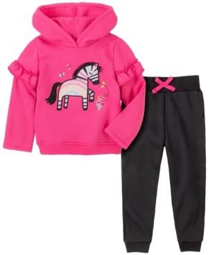 Kids Headquarters Toddler Girl 2-Piece Zebra Hooded Fleece Top with Fleece Pant Set