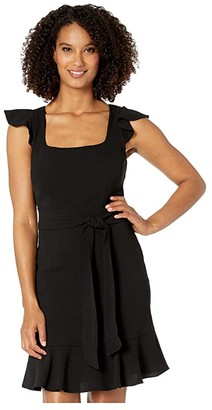Adrianna Papell Crepe Flounce Dress with Tie Waist (Black) Women's Dress