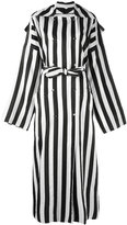 Nina Ricci striped double-breasted long coat - women - Viscose - 44