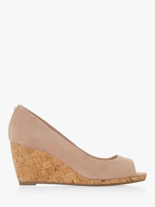 Dune Caydence Suede Peep Toe Cork Wedge Sandals, Cappuccino