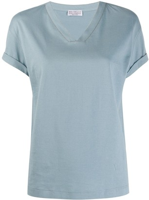 Brunello Cucinelli bead-detail v-neck T-shirt