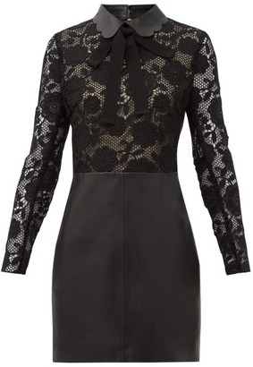RED Valentino Pussy-bow Lace And Leather Mini Dress - Black