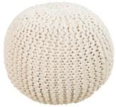 Surya Tulsi Chunky Wool Pouf - Ivory