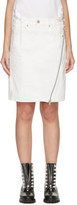3.1 Phillip Lim White Asymmetric Denim Zipper Skirt