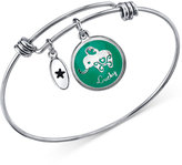 Unwritten Elephant Charm Adjustable Bangle Bracelet in Stainless Steel with Silver-Plated Charms