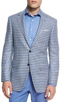 Canali Sienna Contemporary-Fit Check Sport Coat, Light Blue