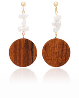 Sophie Monet Mira Gold-Plated, Wood And Pearl Earrings