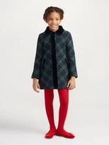Oscar de la Renta Wool Button Down Coat with Velvet Trim