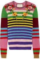 Gucci Appliquéd Striped Wool And Cashmere-blend Sweater - Pink