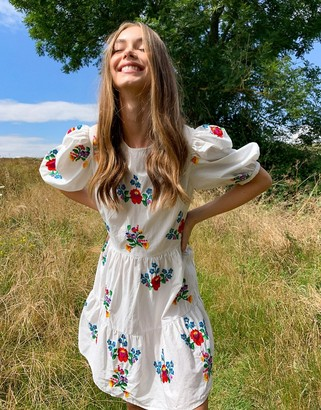 ASOS DESIGN all over embroidered cotton mini smock dress