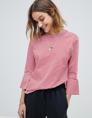 Maison Scotch Clean Striped Fluted Sleeved T-Shirt-Red