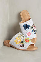 Bill Blass Sequin Floral Slide Sandals