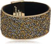 """Kenneth Cole New York Shiny Gold Items"""" Gold Statement with Neutral Tonal Sprinkle Stone Bracelet"""