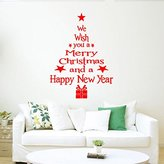 LEERYA Christmas Tree Letters Stick Wall Art Decal Mural Home Room Decor Wall Sticke (red)