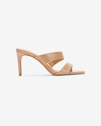Express Textured Asymmetrical Double Band Slide Heels