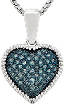 FINE JEWELRY 1/7 CT. T.W. Color-Enhanced Blue Diamond Double Heart Pendant Necklace